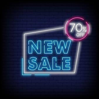 Nouveau solde 70% de rabais pour une affiche de style néon
