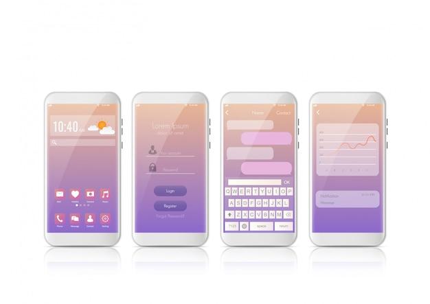 Nouveau style moderne de téléphone intelligent mobile réaliste. smartphone de vecteur avec ensemble d'écrans ui, ux, gui. conception de connexion d'interface et application sms de messagerie