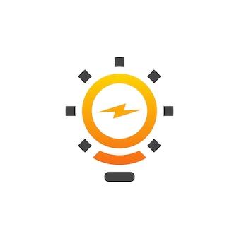 Nouveau symbole d'idée, ampoule de dessin animé lumineux plat. icône d'idée, logo de cercle, signe stylisé d'ampoules vectorielles, logotype de couleur blanche et orange
