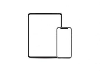 Nouveau vecteur de maquette ipad pro et iphone x sur fond blanc