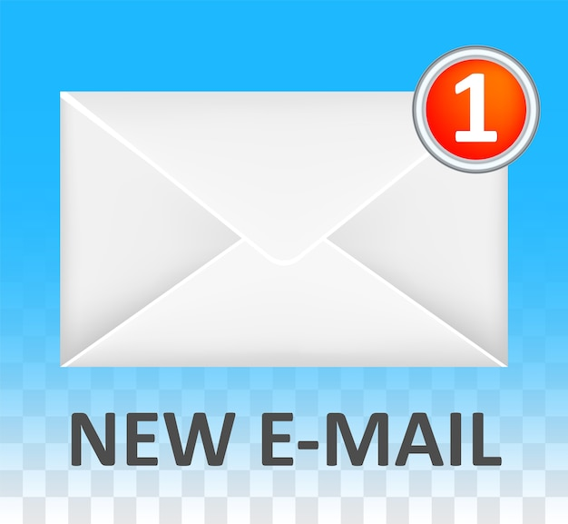 Nouveau vecteur de logo d'enveloppe email fermée blanche