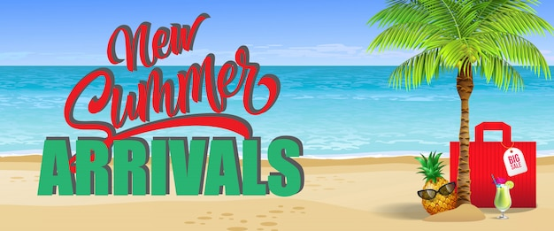 Nouveaux arrivages d'été, grande bannière de vente. boisson froide, ananas, lunettes de soleil, paume, sac rouge