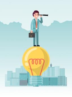 Nouveaux Horizons Dans Les Affaires, Idée De Concept Pour Les Opportunités D'entreprise De Développement à L'avenir, Design, Illustration De Style Plat. Vecteur Premium