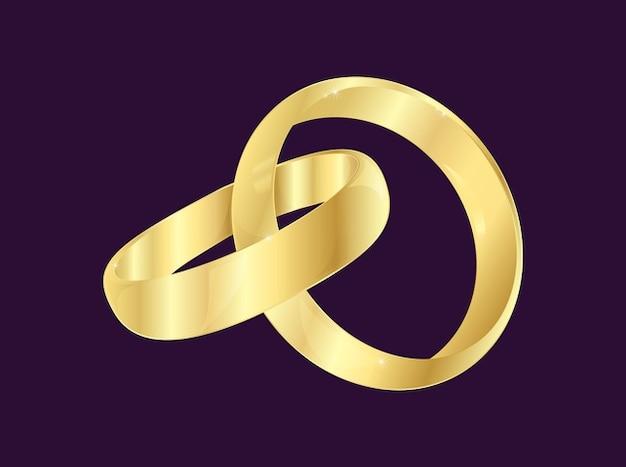 Nouveaux mariés anneaux de vecteur romantique