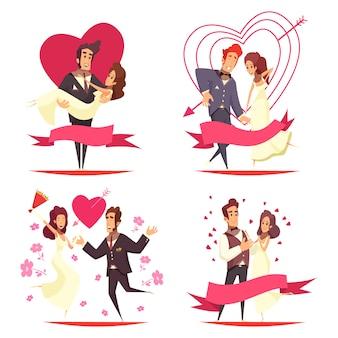 Les nouveaux mariés cartoon illustration concept