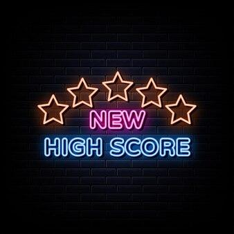 Nouveaux signes au néon de score élevé vecteur modèle de conception enseigne au néon