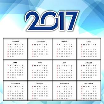 Nouvel an 2017 brillant design bleu calendrier