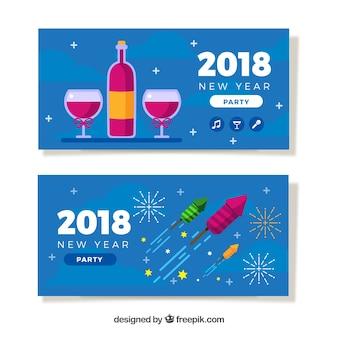 Nouvel an 2018 bannières de fête avec champagne et roquettes