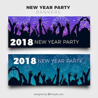 Nouvel an 2018 bannières de fête avec la silhouette des gens de fête
