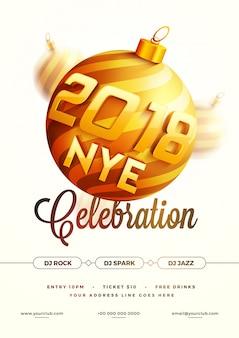 Nouvel an 2018 party poster, bannière ou flyer design.