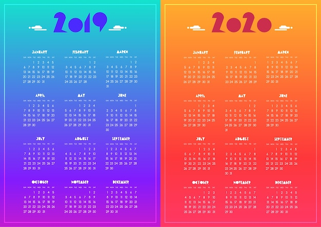 Nouvel an 2019 et 2020 calendrier moderne bleu vif, violet, rouge, dégradé orange