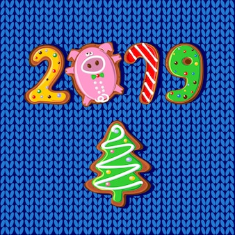 Nouvel an. 2019 année du cochon.