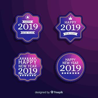 Nouvel an 2019 collection d'étiquettes et de badges