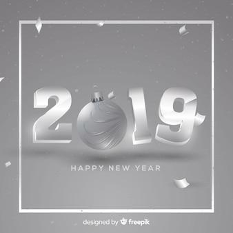 Nouvel an 2019 fond argenté