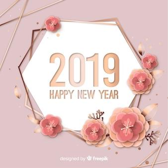 Nouvel an 2019 fond dans le style de papier