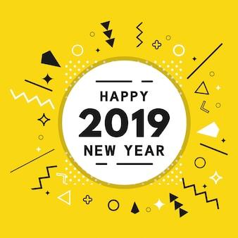 Nouvel an 2019 memphis abstrait fond jaune