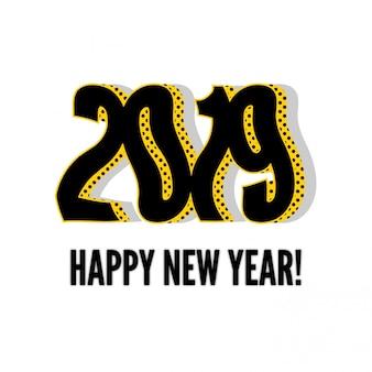 Nouvel an 2019 en zigzag avec un fond blanc