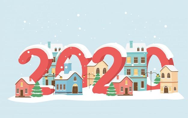 Nouvel an 2020 carte de vœux abrite des lampes de neige arbres ville