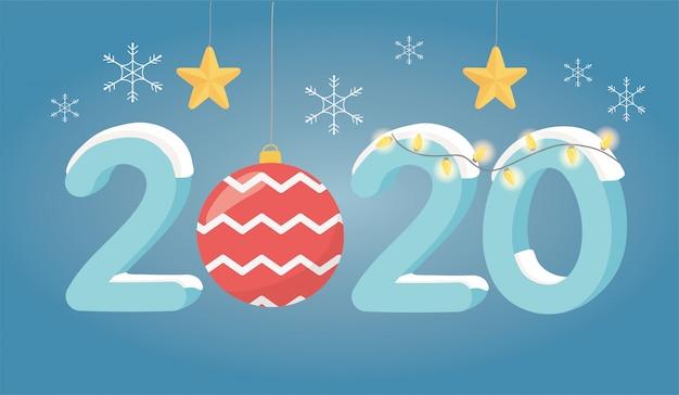 Nouvel an 2020 carte de voeux étoile d'or lumières flocons boule de neige