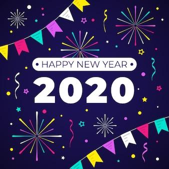 Nouvel an 2020 en design plat