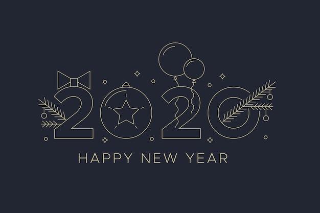 Nouvel an 2020 avec fond de ballons dans le style de contour