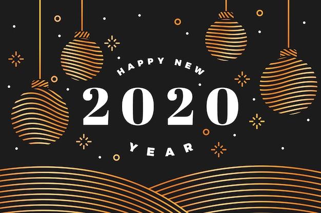 Nouvel an 2020 fond dans le style de contour