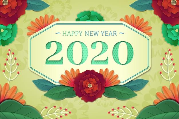 Nouvel an 2020 fond dans le style de papier