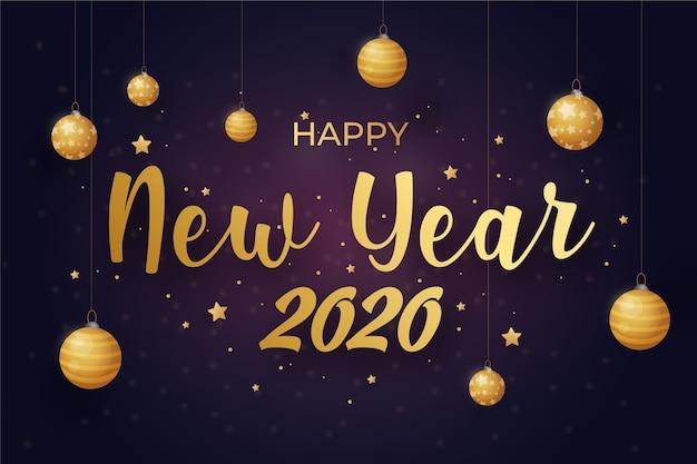 Nouvel an 2020 fond doré