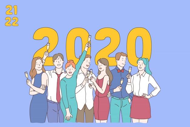 Nouvel an 2020 fond, personnes élevant leurs verres de champagne