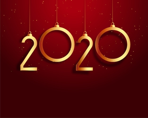 Nouvel an 2020 fond rouge et or