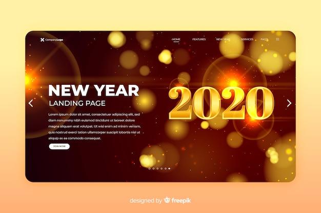 Nouvel an 2020 page de destination floue étincelle