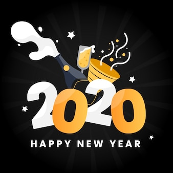 Nouvel an 2020 en style plat