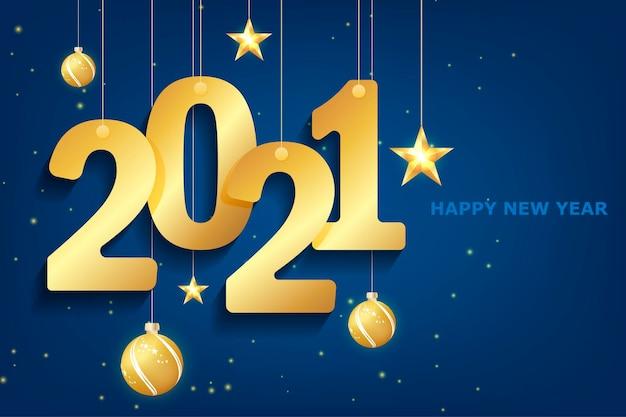 Nouvel an 2021 bleu sur fond blanc. carte de voeux joyeux noël. contexte. calendrier 2021. bannière d'événement festif. création de logo. fond blanc. fond de nuit de noël bleu.