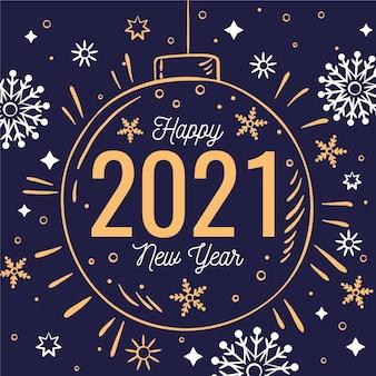 Nouvel an 2021 dessiné à la main