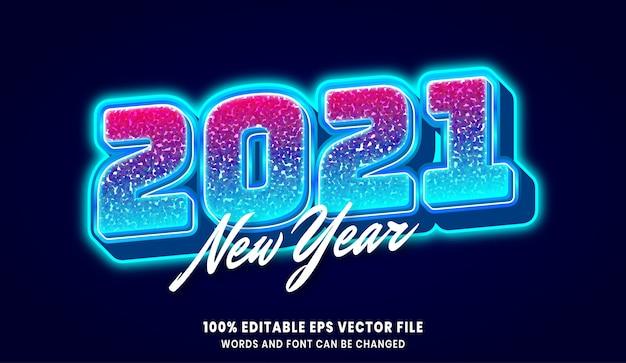 Nouvel an 2021 effet de style de texte modifiable 3d