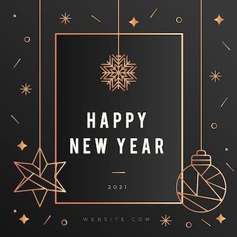 Nouvel an 2021 avec fond de décoration doré réaliste