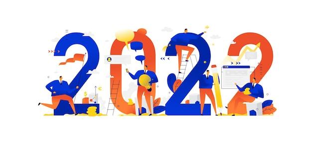 Nouvel an 2022 rencontrer la nouvelle année les gens d'affaires saluent noël et le nouvel an nouveaux horizons préparation pour les vacances métaphores d'affaires hommes d'affaires dans différentes situations