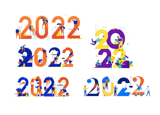 Nouvel an 2022 rencontrer la nouvelle année les gens d'affaires saluent noël et le nouvel an