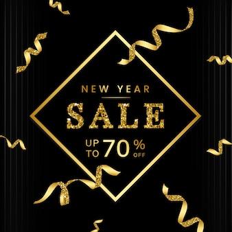 Nouvel an 70% sur vecteur de signe de vente