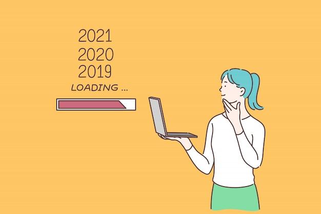 Nouvel an en attente, planification pour l'avenir, concept de flux de temps.