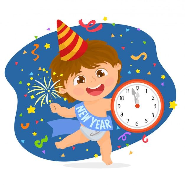 Nouvel an bébé avec une horloge