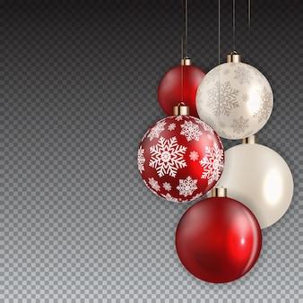 Nouvel an et boule de noël sur fond transparent.
