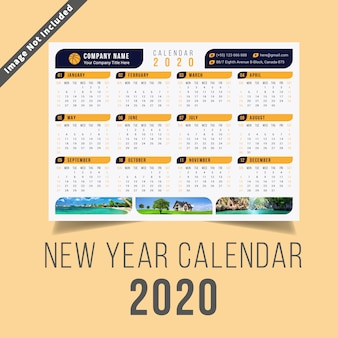 Nouvel an calendrier 2020