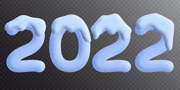 Nouvel an, chiffres bleus 2022 sur fond transparent, imitation 3d, la neige recouvre les chiffres du dessus