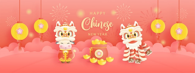Nouvel an chinois, année du bœuf avec mignon bœuf et lion chinois.