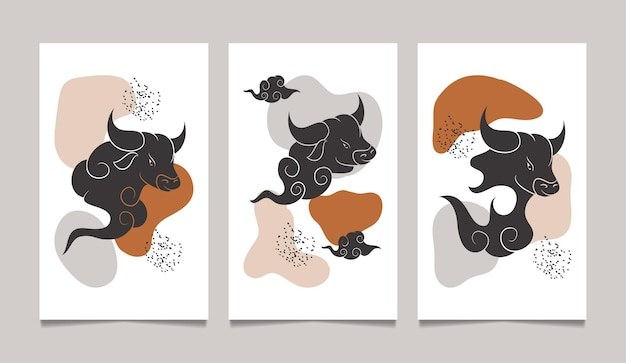 Nouvel an chinois du boeuf art mural abstrait