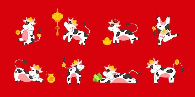 Nouvel an chinois du zodiaque boeuf blanc 2021 - taureaux ou vaches set vector, animaux de dessin animé plats pour les cartes de vœux