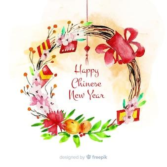 Nouvel an chinois avec des fleurs