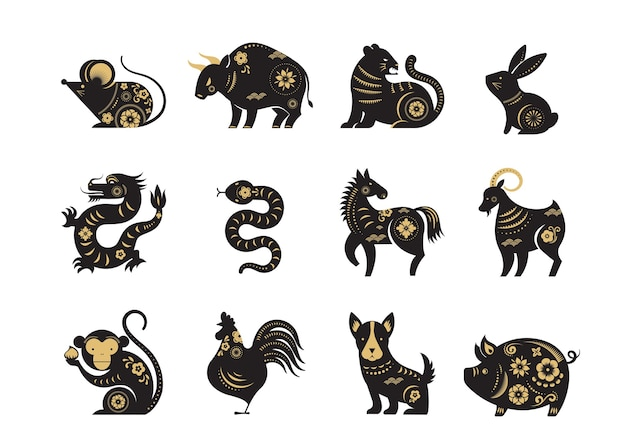 Nouvel an chinois, signes du zodiaque, icônes et symboles en papier découpé.