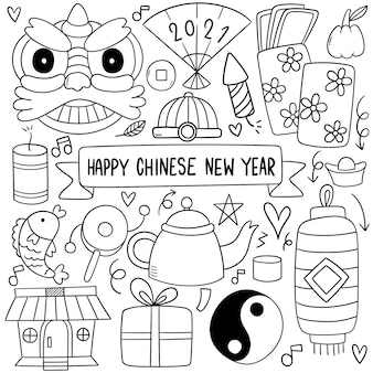 Nouvel an chinois avec style doodle icône